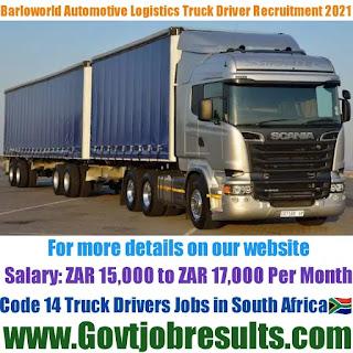 Barloworld Automotive and Logistics Code 14 Truck Driver Recruitment 2021-22