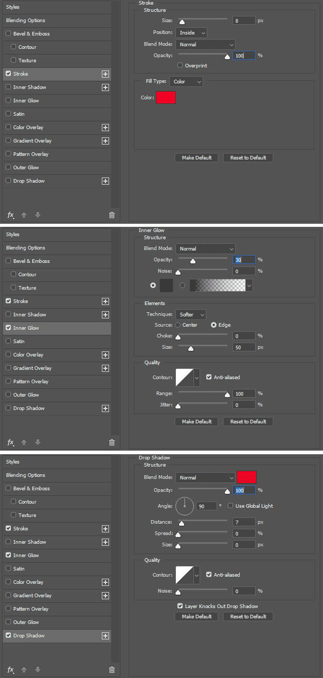 Menggunakan Blending Options untuk efek tertentu pada huruf