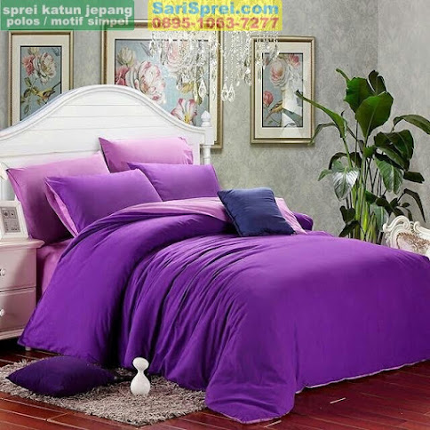 Sprei Katun Jepang Polos Purple Mix Polos Lilac