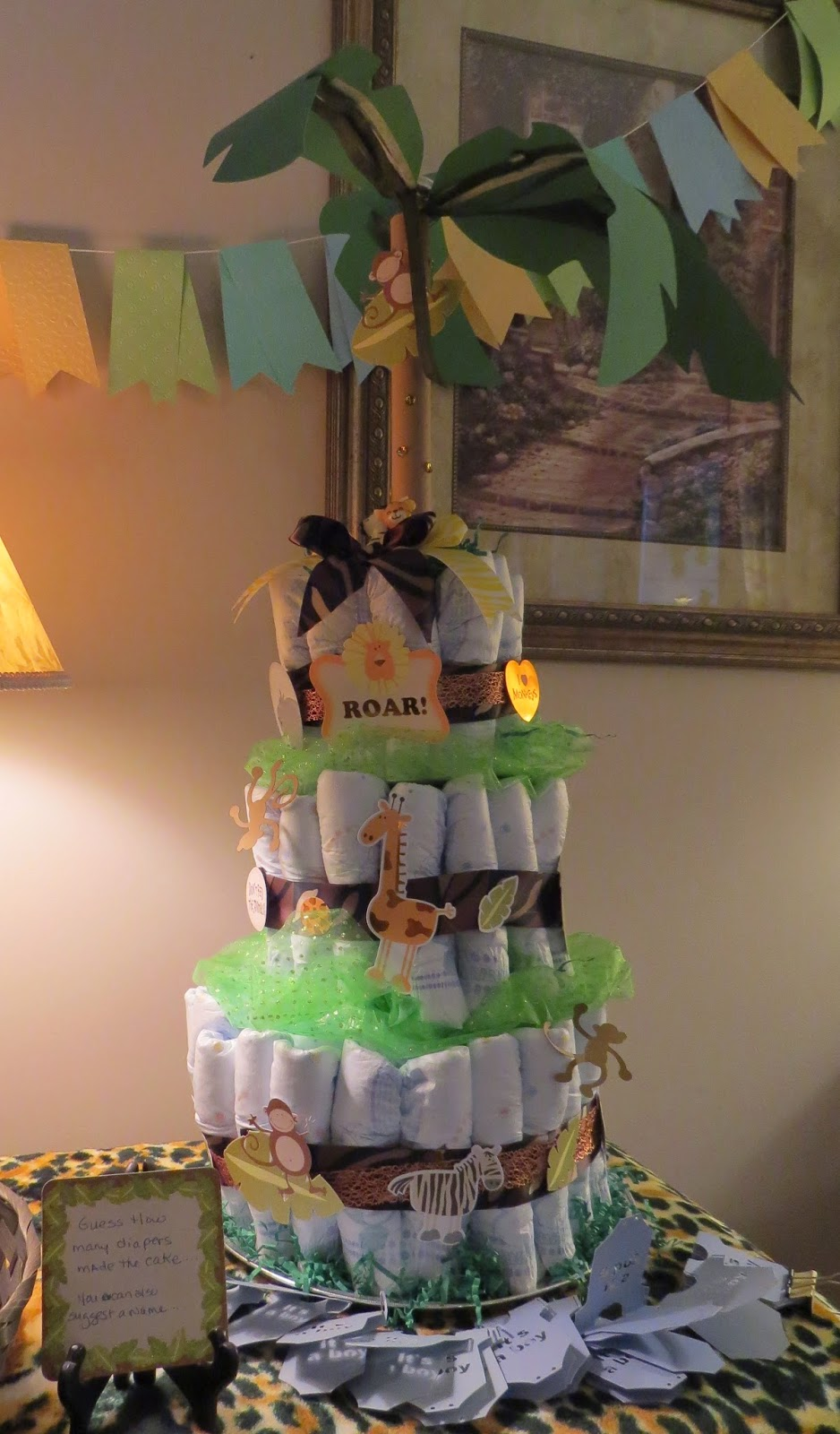Baby Shower Diaper Cake, Pinterest inspired(unknown), stickers, game
