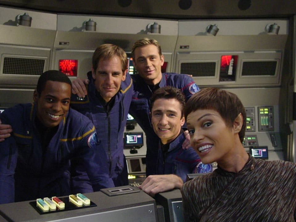 Un descanso en el rodaje de Star Trek: Enterprise