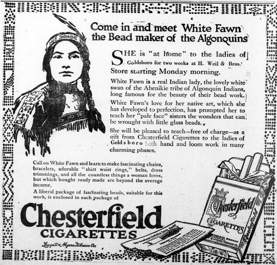 Chesterfield and beads advertisement indian lady 1914
