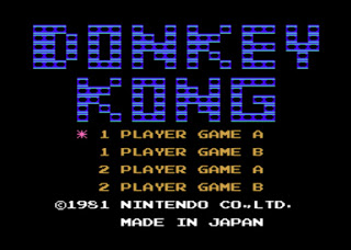 Captura de pantalla con la presentación de Donkey Kong. Texto con el título y selección de 1 o 2 jugadores