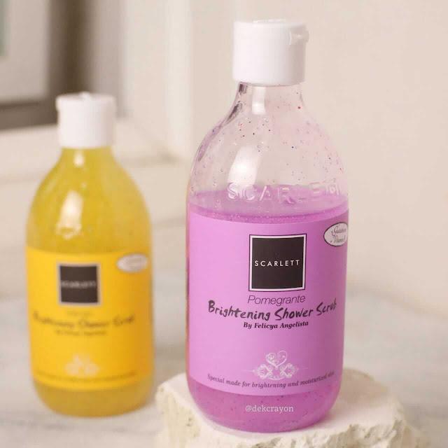 review scarlett brightenng shower scrub pomegrante