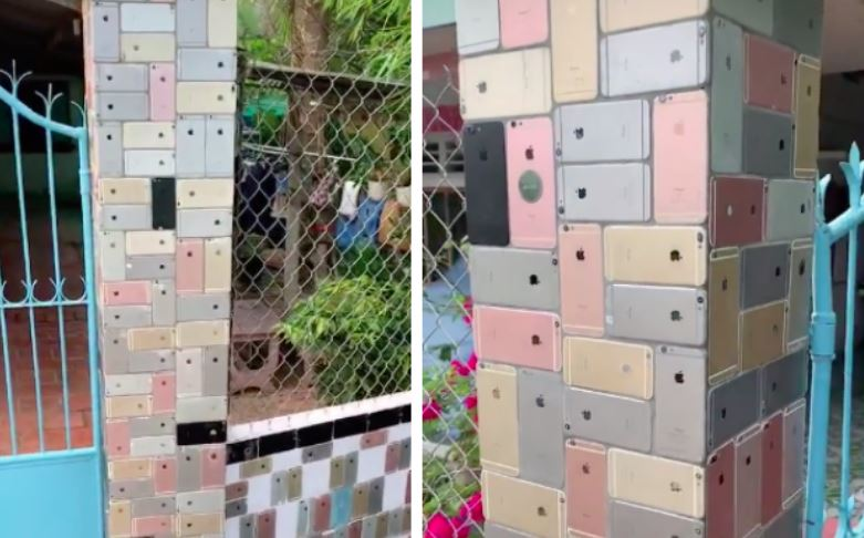 Too Much Money! Hundreds Of iPhone 6 Phones Used As Decorative Tiles For House Fence (Video) #Arewapublisize