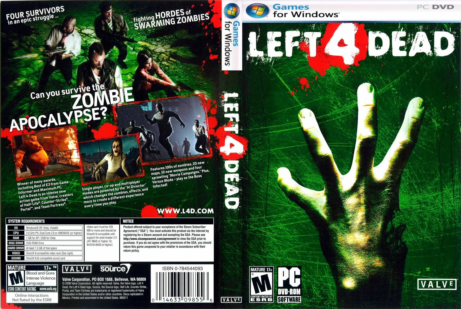 Left 4 Dead PC DVD Capa