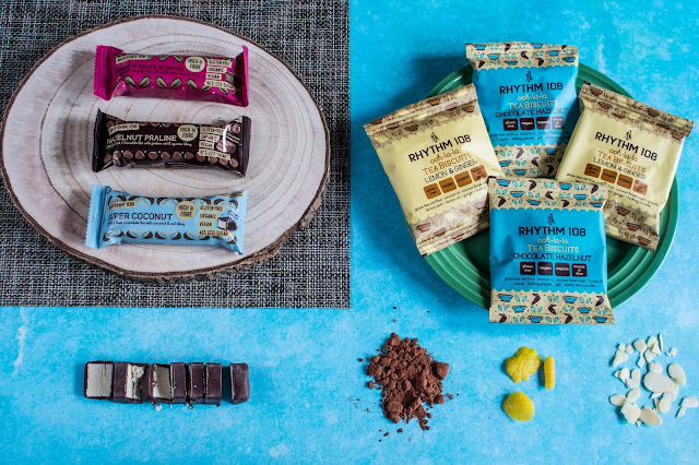 The Rhythm 108 Vegan Swiss chocolate bar and tea biscuits range