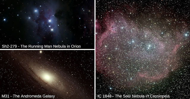 More images of deep-sky objects taken by the Barnstable High School senior astronomy students. Sh2-279 imaged on ATEO-3, M31 imaged on ATEO-2A and IC 1848 imaged on ATEO-1.