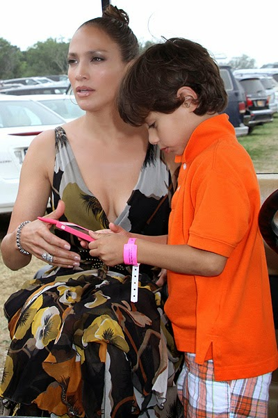 Jennifer Lopez with children at the annual horse show in New York