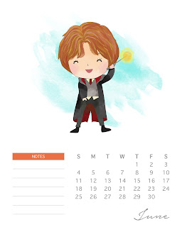 Calendario 2017 de Harry Potter para Imprimir Gratis  Junio.