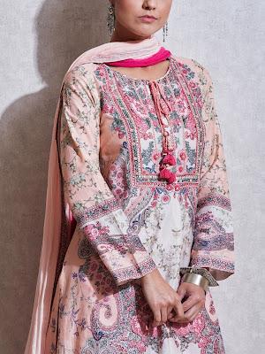 Ritu Kumar Pink Floral print chanderi suit Front side