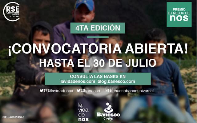 CONCURSO: Banesco y La Vida de Nos convocan al 4° premio Lo Mejor de Nos.
