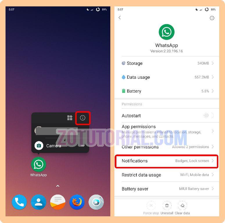 Cara Menonaktifkan Notifikasi WA, FB, IG Sosial Media di Android - zotutorial