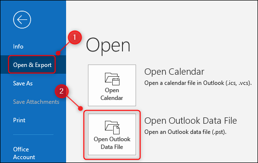 """خيار """"فتح ملف بيانات Outlook"""" في Outlook."""