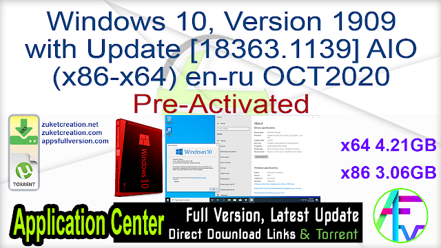 Windows 10, Version 1909 with Update [18363.1139] AIO (x86-x64) en-ru OCT2020 Pre-Activated