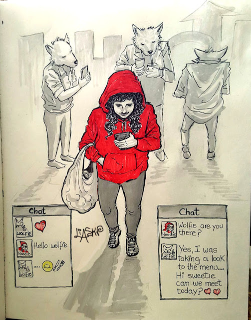modern red riding hood in the town of wolves