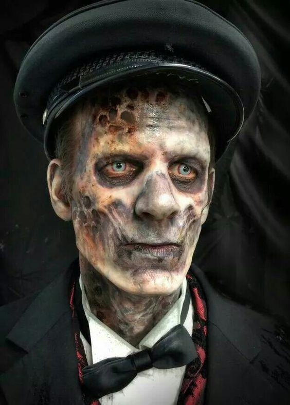 maquiagem zumbi de halloween masculina facil