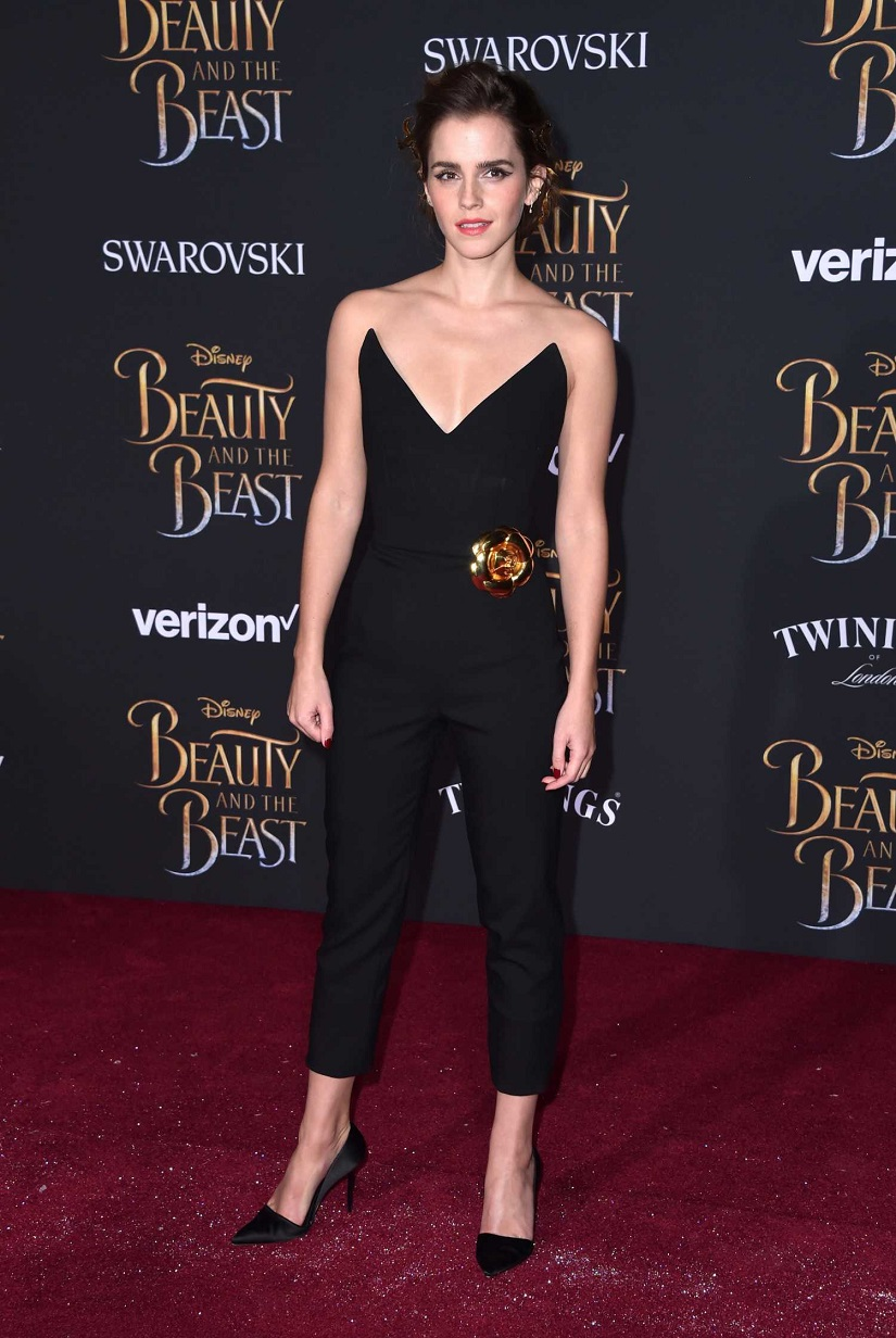 Emma Watson wears plunging jumpsuit for the Beauty and the Beast LA premiere