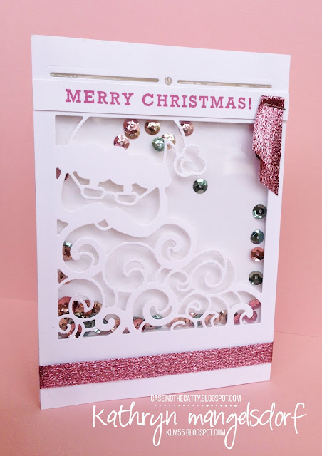 Stampin' Up! Detailed Santa Thinlits Dies Christmas Shaker Card created by Kathryn Mangelsdorf