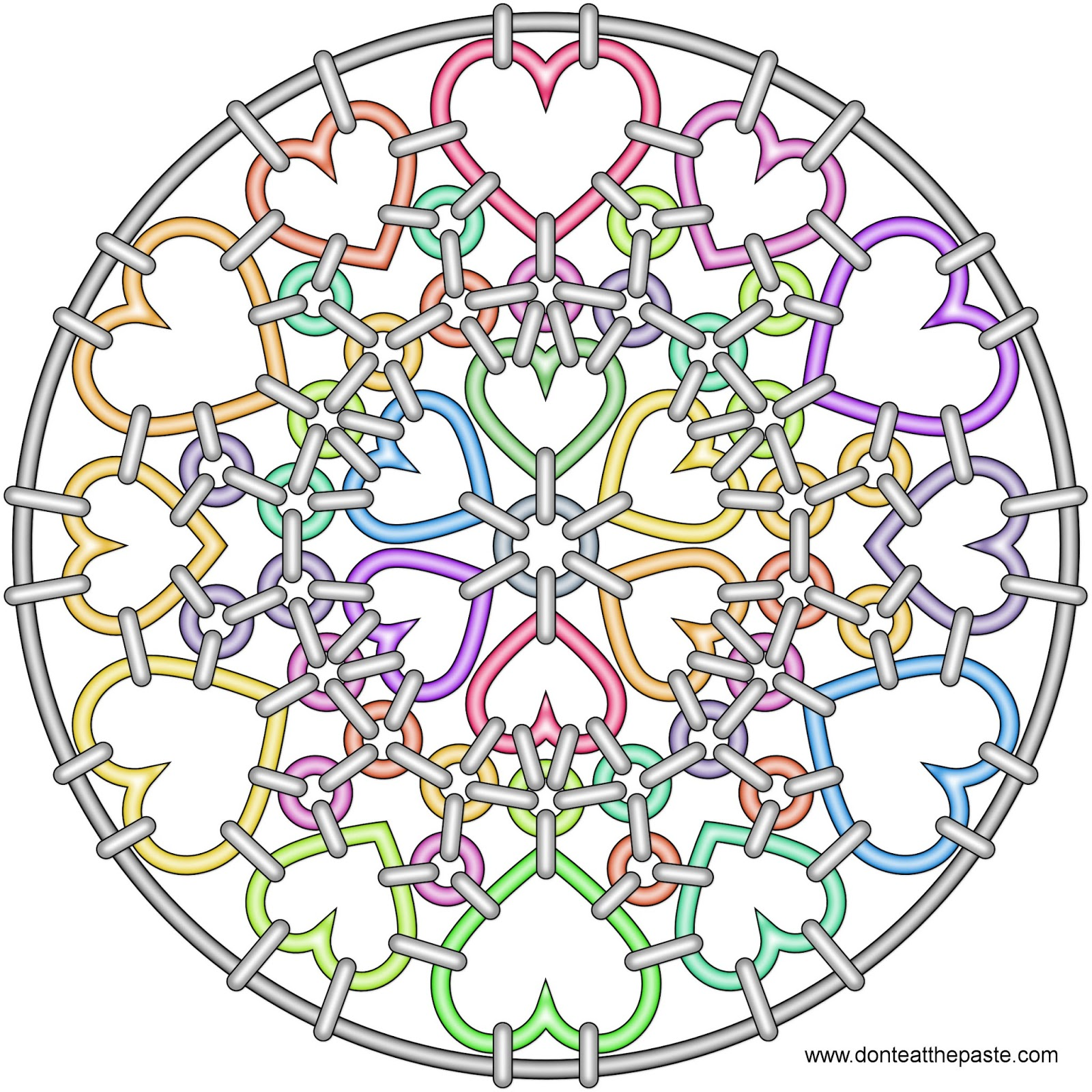 Heart chainmail mandala to color