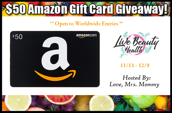 Live Beauty Health $50 Amazon Gift Card Giveaway! Ends 12/9 OPEN WORLDWIDE!