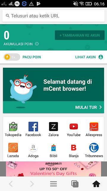 Aplikasi Mcent Browser Pulsa Gratis