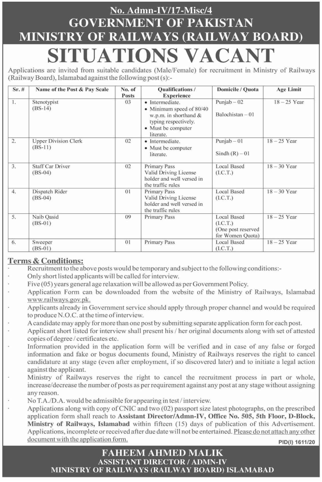 Ministry of Railways Jobs 2020 for Stenotypist, Upper Division Clerk, UDC and more