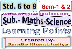 Std-6 To 8 Sem-1 & 2 Maths-Sci Dainik Aayojan By Sandip khambhaliya - www.wingofeducation.com