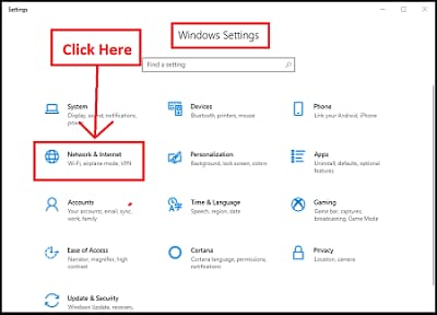 Windows settings Netowrk and Internet Options
