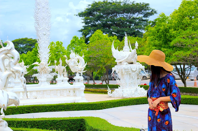 Woman White Temple Travel Blogger Photography Chiang Mai Thailand