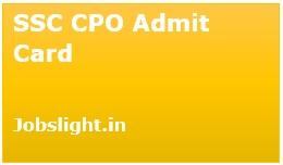 SSC CPO Admit Card 2017