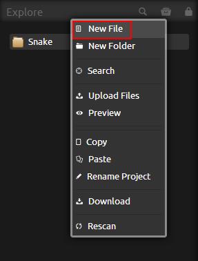Codiad New File