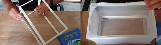 Setup frame of breeder box & wrap it with nylon