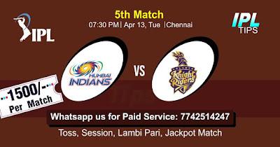 IPL T20 Kolkatta vs Mumbai 5th Match Who will win Today? Cricfrog