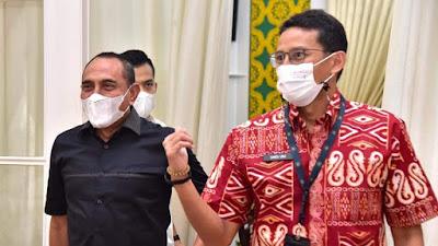 Temui Gubernur Sumut, Menteri Sandiaga Uno Bahas Percepatan Pariwisata Danau Toba