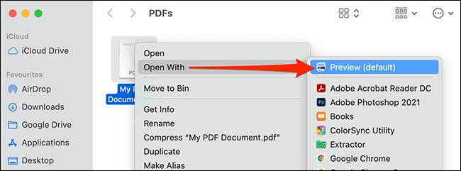 انقر بزر الماوس الأيمن فوق ملف PDF وحدد فتح باستخدام> معاينة.
