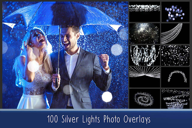 100 Silver Lights Overlays