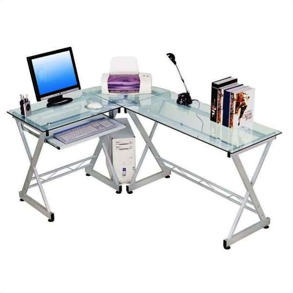 Lastest Modern Home Office Glass Desk Glass Top Amp Metal Base Modern