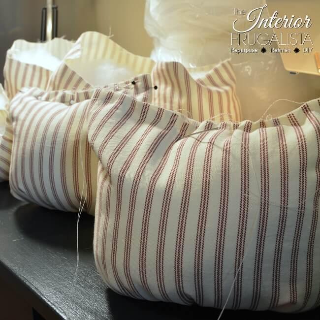 Ticking Fabric Pumpkins Stitched Closed