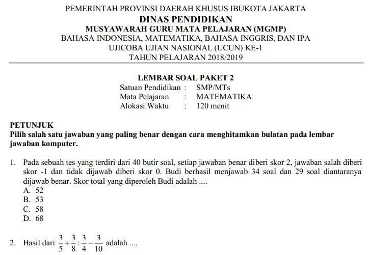 soal usbn mtk smp 2019 pdf
