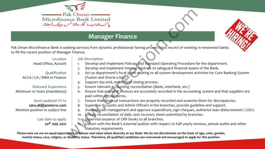 Pak Oman Microfinance Bank Ltd Jobs Manager Finance