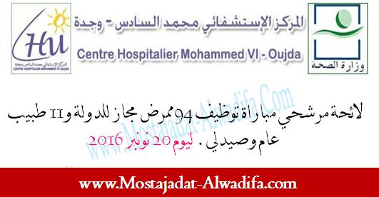 المركز الإستشفائي محمد السادس وجدة لائحة مرشحي مباراة توظيف 94 ممرض مجاز للدولة و11 طبيب عام وصيدلي. ليوم 20 نونبر 2016