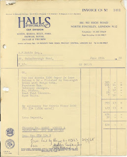 Halls of Finchley invoice 28 June 1968