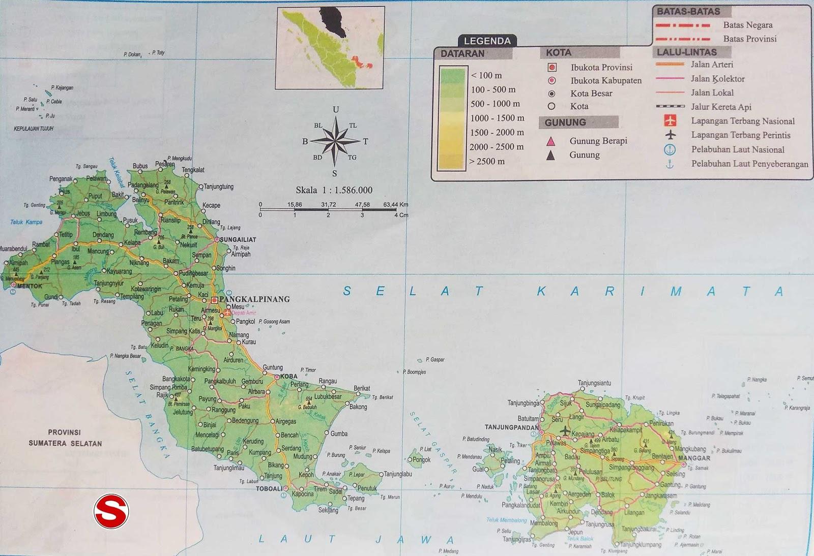 Peta Atlas Provinsi Bangka Belitung di bawah ini mencakup peta dataran Peta Atlas Provinsi Bangka Belitung