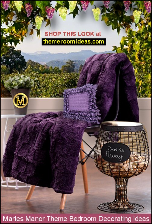 Purple Faux Fur Throw tuscany mural wine barrel table tuscan bedroom decor  grape vineyard tuscan decorating  Tuscan theme decor - grape decor - wine barrel decor - Tuscan theme decorating ideas -