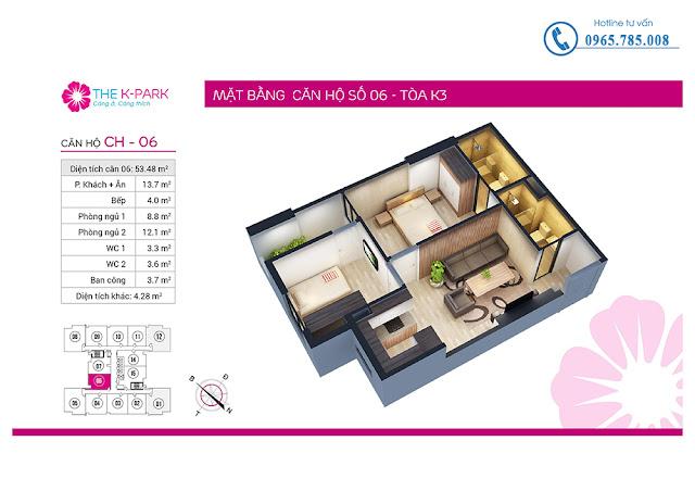 Thiết kế căn hộ 06 loại 2 phòng ngủ