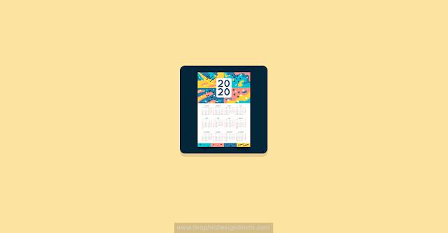 Plantilla de calendario 2020 abstracto gratis