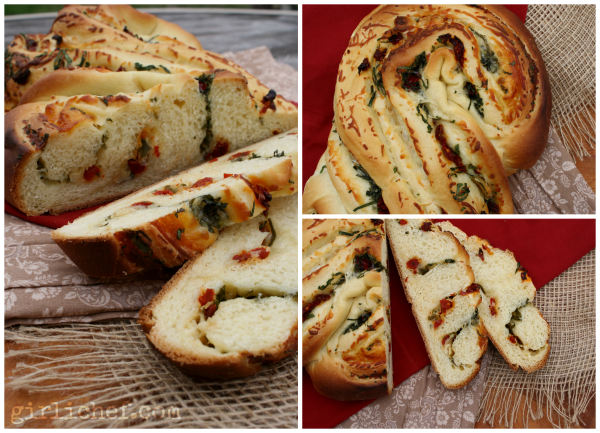Sundried Tomato, Roasted Garlic, & Basil filled Pane Bianco | www.girlichef.com