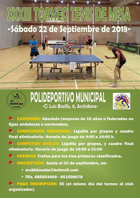 Torneo de Tenis de Mesa de Archidona 2018