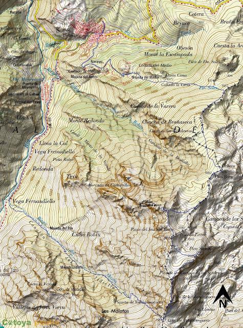Mapa IGN de la ruta señalizada al Pico de Valdominguero, Soriano, Jou Sin Tierre, Cueto Tejao y Boru en el Macizo Oriental de los Picos de Europa